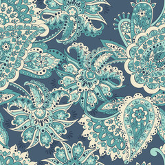 Paisley seamless pattern. Vector illustration in asian textile style