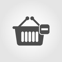 Shopping basket with minus icon for apps and websites