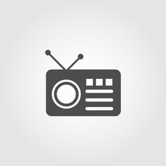 Radio with antenna icon for apps and websites
