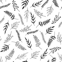 Seamless pattern black and white herb, monochrome leaves pattern, vector leaf, design for greeting card, wedding, textile, web, wallpaper, wrapping, print holiday fabric