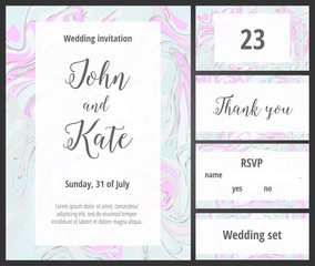 Mint and pink wedding invitation printable template set
