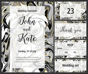 Black and golden wedding invitation printable template set