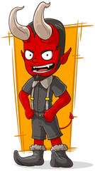 Cartoon young devil in grey shorts