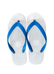 Pair of blue flip flops. Isolated on white background with copy