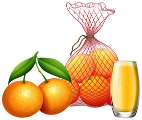 Fresh orange and orange juice