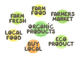 Farmers market labels set. Farm fresh product. Organic eco product.