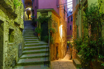 Narrow dark alley and stairway in the old town - typical Italian charming street decoration with...