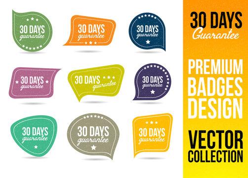 30 Days Guarantee Logo Badge and Emblem in Flat Design Style.