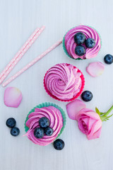 delicious pink cupcakes with blueberries