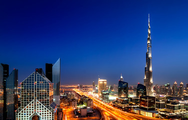 Keuken foto achterwand Dubai Amazing sunset dubai downtown skyline with tallest skyscrapers and beautiful blue sky, Dubai, United Arab Emirates