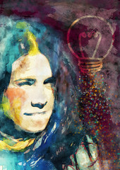Bright idea. Education concept. Contemporary painting