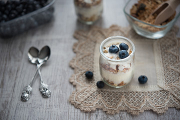 Fresh and diet muesli and yoghurt for breakfast