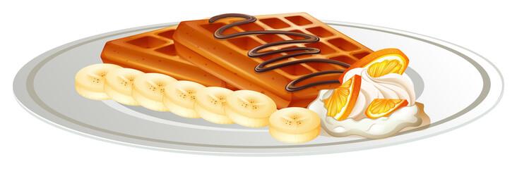 Waffle and banana on the plate