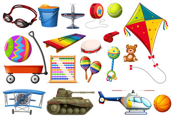 Set of toys and transportations