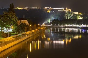 koblenz germany and the deutsches eck at night