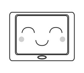 flat design kawaii tablet icon vector illustration