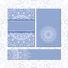 Banner templates with mandala pattern. Design for flyer, banner, greeting or invitation card