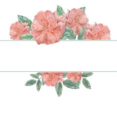 Roses. Frame Watercolor illustration. Hand drawing. Decorative element for greeting card, invitation card.