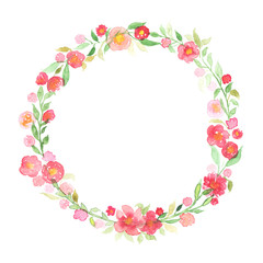 Hand drawn watercolor wreath with abstract flowers and leaves isolated on a white background
