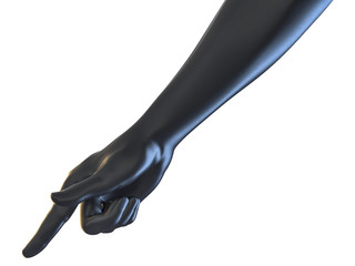 3D rendering of hand pointing concept black rubber texture