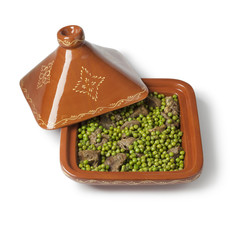 Wall Mural - Square Moroccan tajine with meat and green peas
