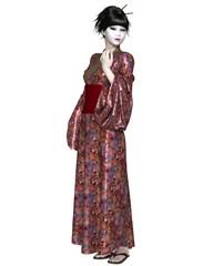 Young Japanese Woman with Geisha Makeup and Kimono - fantasy illustration