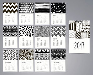 Calendar 2017. Templates with Hand Drawn Patterns
