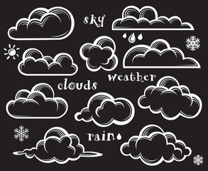 illustration of clouds collection on black background
