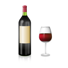 A bottle of red wine with and elegant wineglass. Realistic vector illustration.