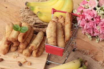 Deep fried banana traditional Indonesia , Banana Molen.