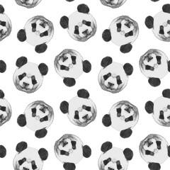Seamless pattern with hand-drawn Panda.