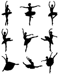 Black silhouettes of ballerinas on a white background, vector