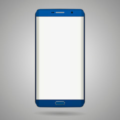 Smart phone with edge display design. Dark blue color with blank white display.