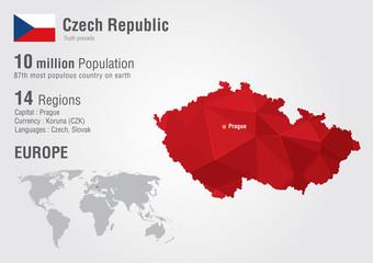 Wall Mural - Czech Republic world map with a pixel diamond texture.