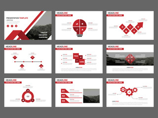 Red Abstract presentation templates, Infographic elements template flat design set for business proposal brochure flyer leaflet marketing advertising banner template
