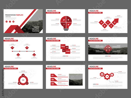 red abstract presentation templates infographic elements template