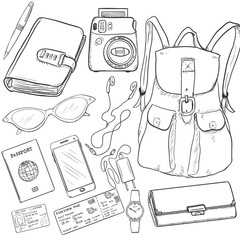 Vector Sketch Travel Set. Backpack, Purse, Watch, Ticket, Driver License, Passport, Mobille Phone, Headphones, Charger, Sunglasses, Notepad, Pen, Camera.