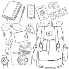 Vector Sketch Travel Set. Backpack, Camera, Watch, Credit Card, Wallet, Headphones, Sunglasses, Notepad, Pen, Cell Phone, Charger, Passport, Drivers ID, Avia Ticket.
