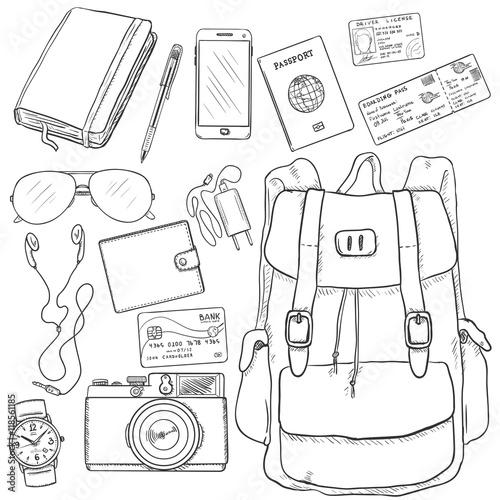 u0026quot vector sketch travel set  backpack  camera  watch  credit