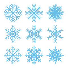 Set of geometric snowflakes with inticate patterns and crystal structure. Vector illustration.