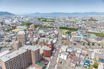 Landscape Hakodate city view from Goryokaku tower.