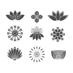 Flower black icons set. Isolated on white background.