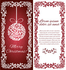 Vector elegant Greeting card with Christmas ball from abstract flower ornament and floral frame. There is a place for text.
