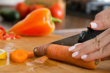 sliced carrots knife macro