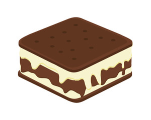 flat design ice cream sandwich icon vector illustration