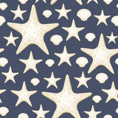 Seamless pattern with seashells and sea stars