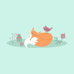 Cute fox lies on lawn in forest with bird and flowers in cartoon style