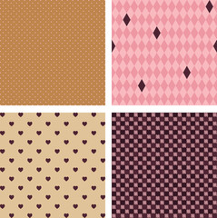 Four seamless vector geometrical patterns