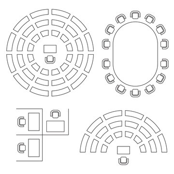 Business, education and government furniture symbols used in architecture plans icons set, top view, graphic design elements, outlined, black isolated on white background, vector illustration.