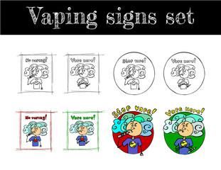 vaping signs set